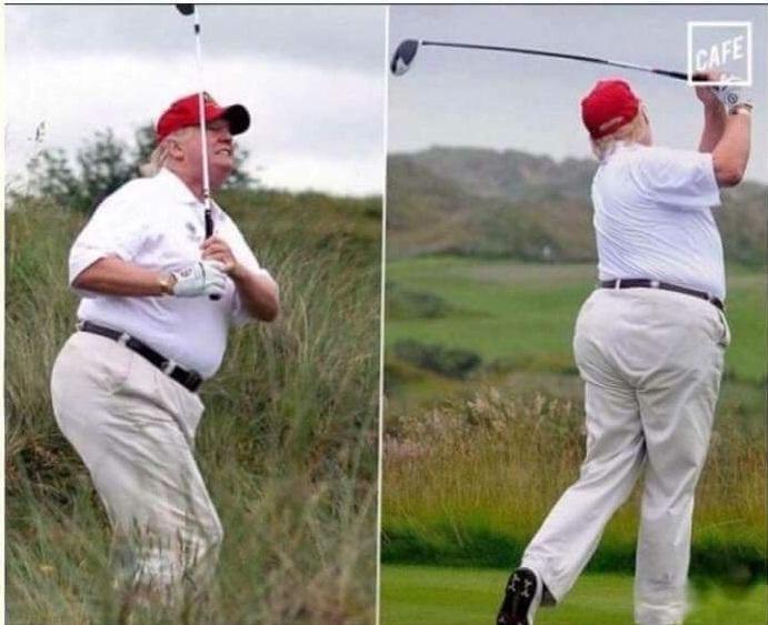 fat trump golfing